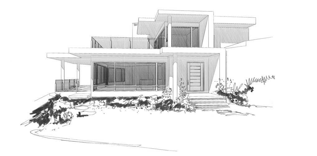 Sketch Rendering Of Contempoaray Home